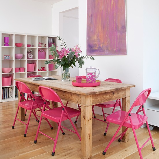 White-dining-room-with-pink-chairs-ideal-home-house-tour-housetohome.co.uk